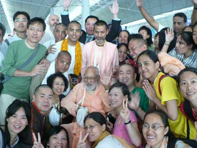 Devotees of Krishna at the Hong Kong Airport